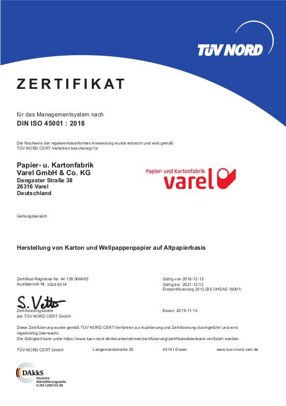 ISO-Zertifikat 45001