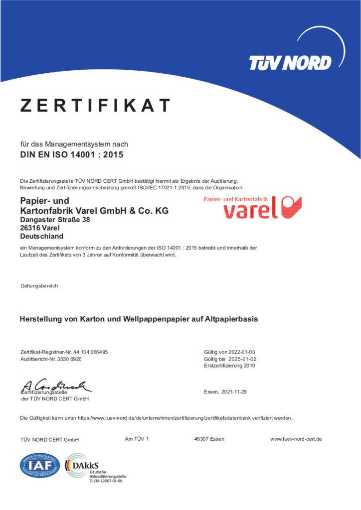 ISO-Zertifikat 14001