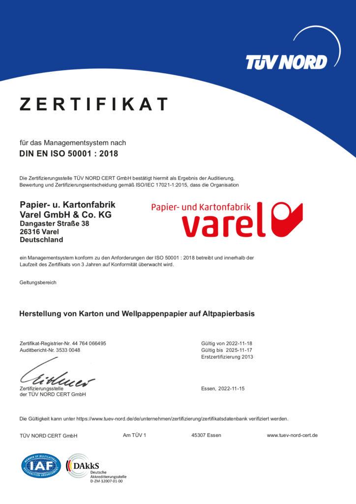 ISO-Zertifikat 50001