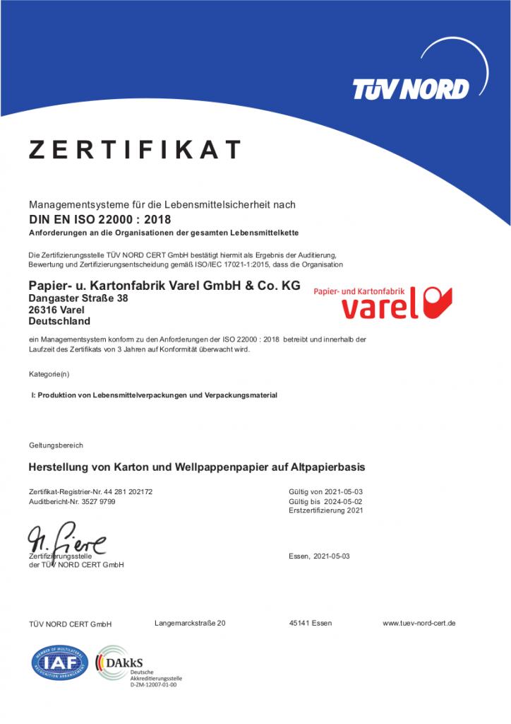 ISO-Zertifikat 22000