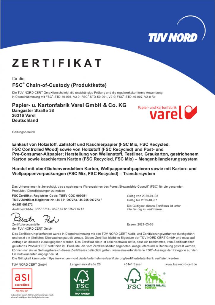 FSC®-Zertifikat